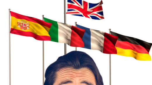 Mężczyzna po wyjeździe językowym za granicę myśli w języku obcym